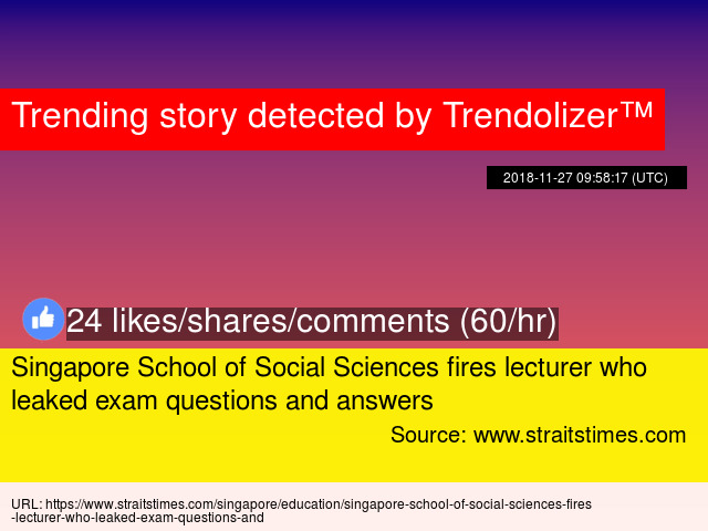 Singapore School of Social Sciences fires lecturer who