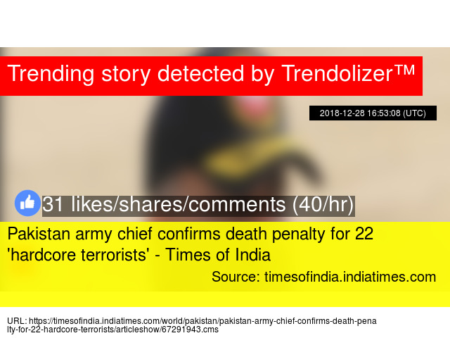 Pakistan army chief confirms death penalty for 22 'hardcore