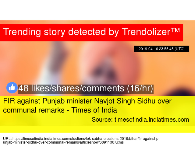 FIR against Punjab minister Navjot Singh Sidhu over communal remarks