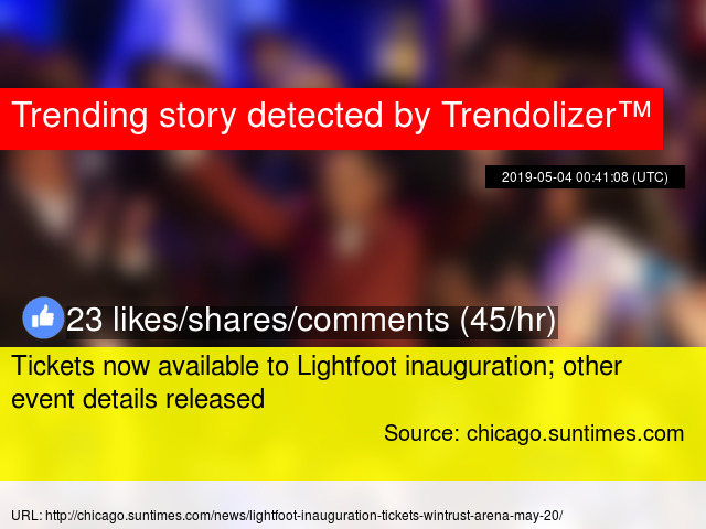Tickets now available to Lightfoot inauguration