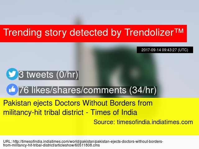 Pakistan Ejects Doctors Without Borders From Militancy Hit Tribal District