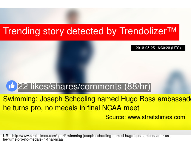 e77cd47f2 Swimming: Joseph Schooling named Hugo Boss ambassador as he turns pro, no  medals in final NCAA meet