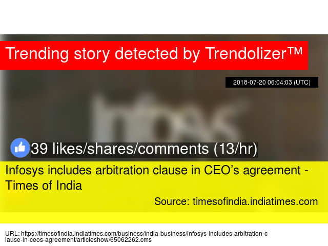 Infosys Includes Arbitration Clause In Ceorsquos Agreement Times
